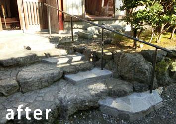 玄関ポーチ階段の改修後